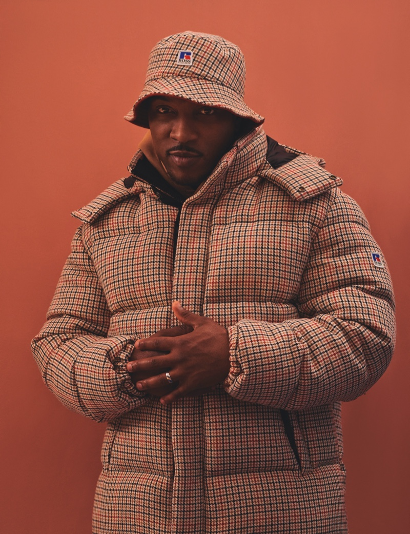 Embracing a sporty look for Hunger magazine's pages, Ashley Walters dons clothing from BOSS for Russell Athletic.