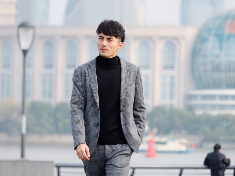 Asian Man Suit Grey Black Sweater