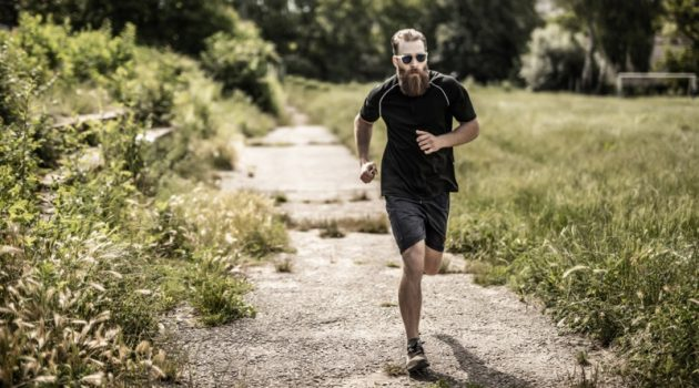 Bearded Man Running Shirt Shorts Outside