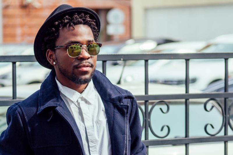 Black Man Sunglasses Hat Diamond Earring Style