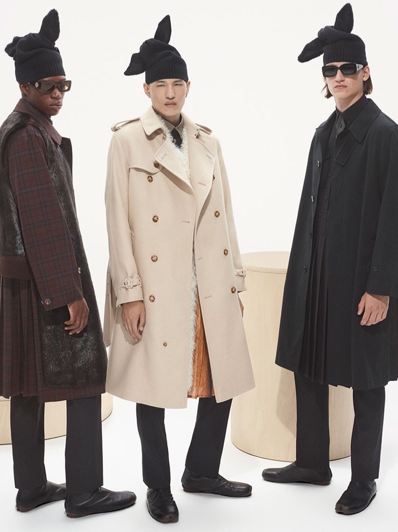 Sita, Nozomu Ito, and Finn Rosseel star in Burberry's fall-winter 2021 men's campaign.