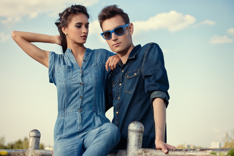 Couple Female Male Model Denim Looks Light Dark Wash