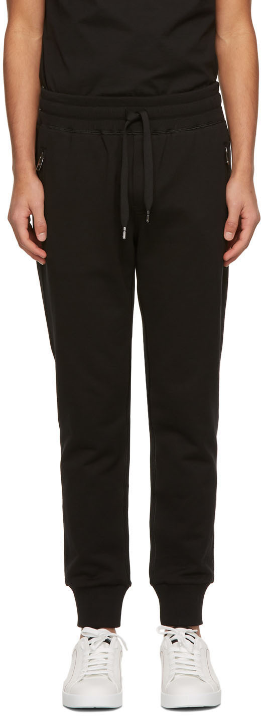 Dolce & Gabbana Black Brand Plate Lounge Pants