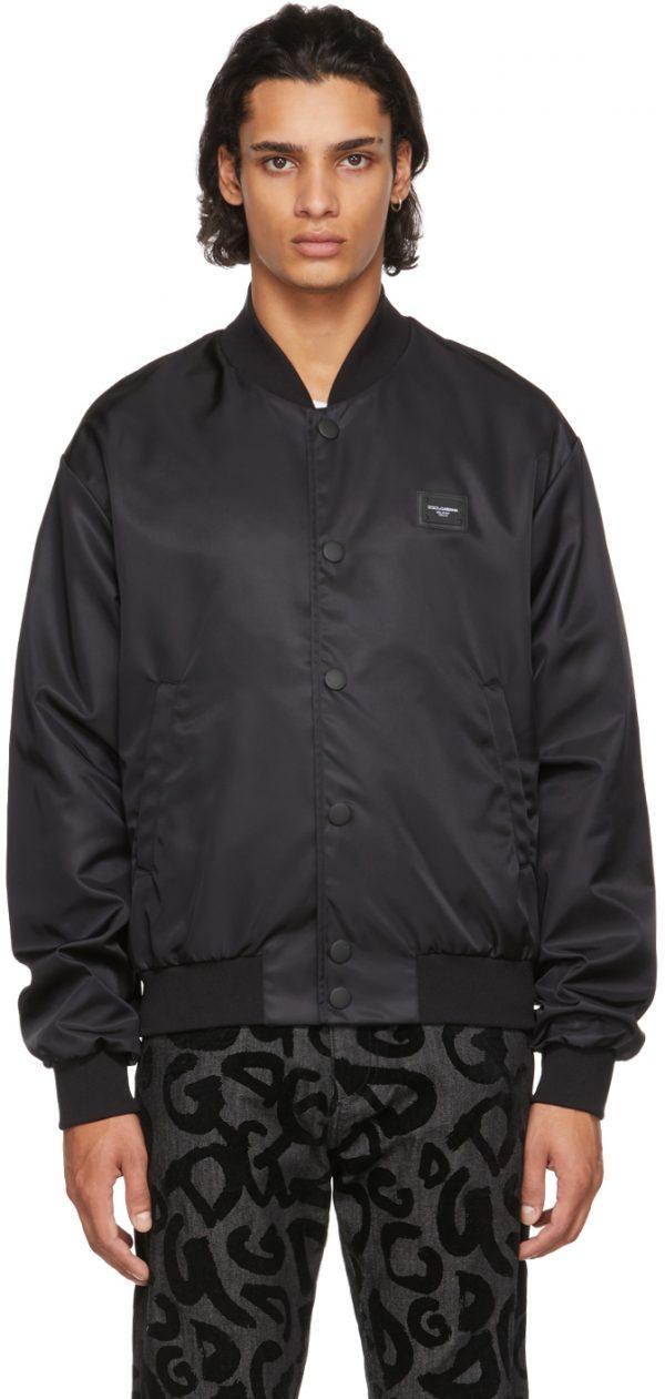Dolce & Gabbana Black Branded Plate Bomber Jacket