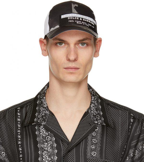 Dolce & Gabbana Black Camo Print Cap