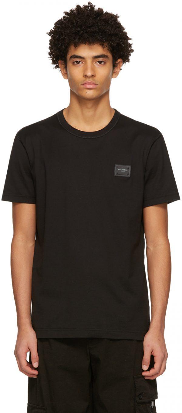 Dolce & Gabbana Black Cotton Logo Plaque T-Shirt