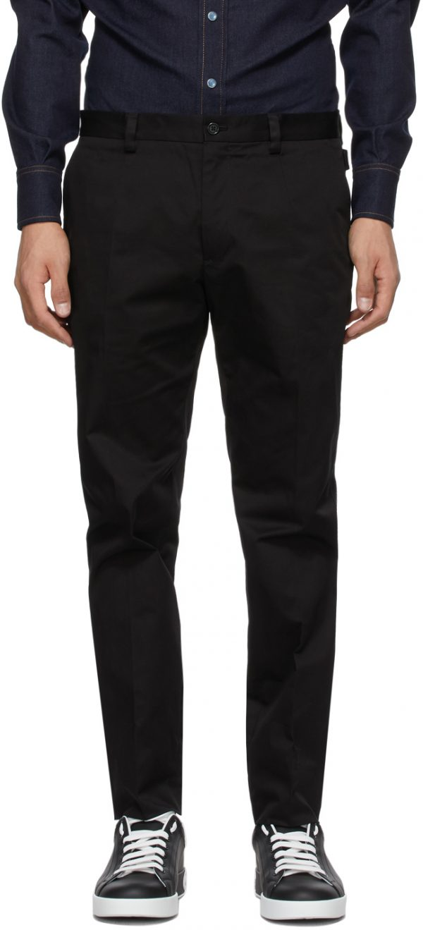 Dolce & Gabbana Black Cotton Twill Trousers
