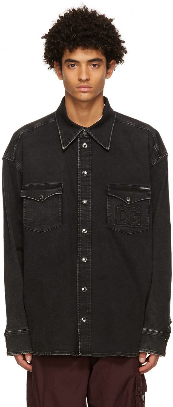 Dolce & Gabbana Black Denim Washed DG Shirt