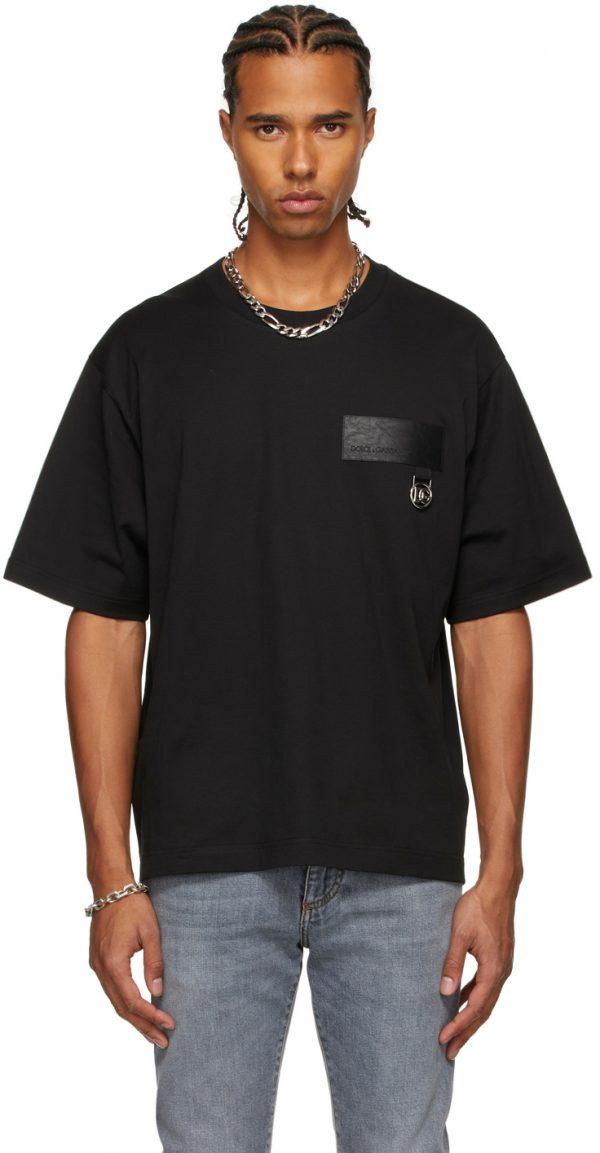 Dolce & Gabbana Black Faux-Leather Patch T-Shirt