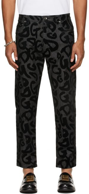 Dolce & Gabbana Black Flocked DG Jeans