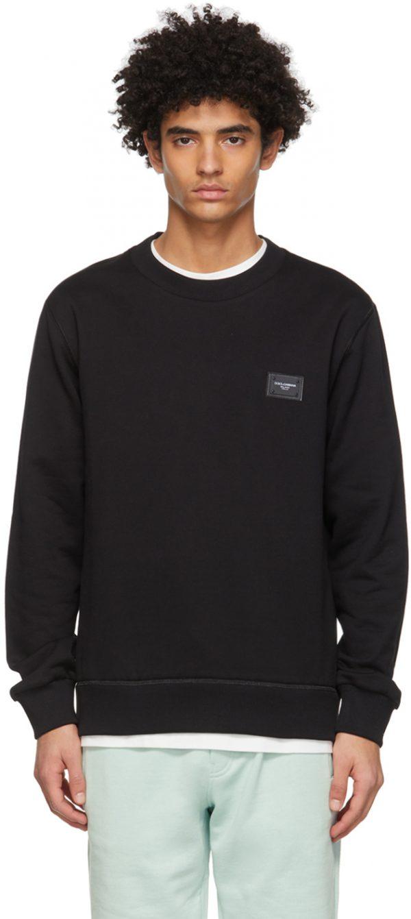 Dolce & Gabbana Black Jersey Brand Plate Sweatshirt