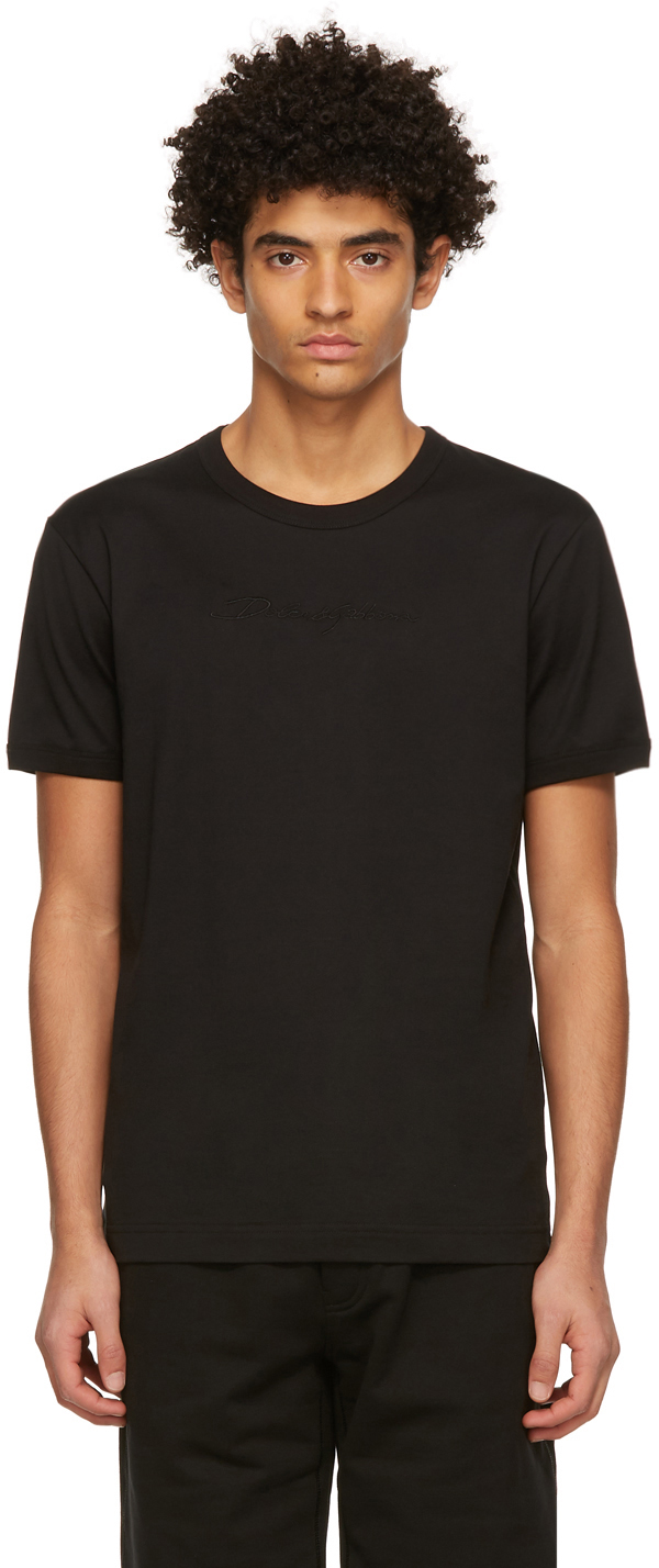 Dolce & Gabbana Black Jersey Script T-Shirt