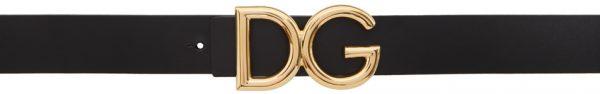 Dolce & Gabbana Black Leather 'DG' Logo Belt