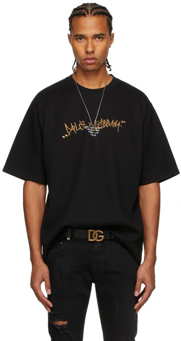Dolce & Gabbana Black Logo Embroidery T-Shirt