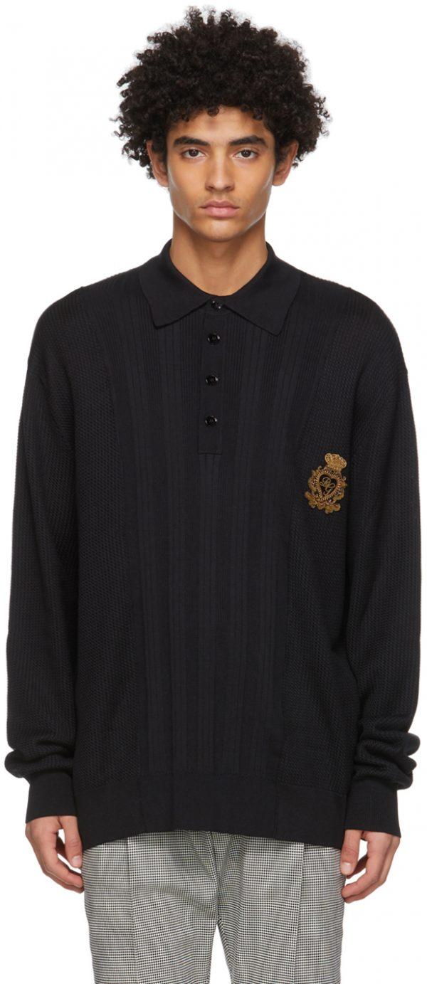 Dolce & Gabbana Black Mixed Knit Polo