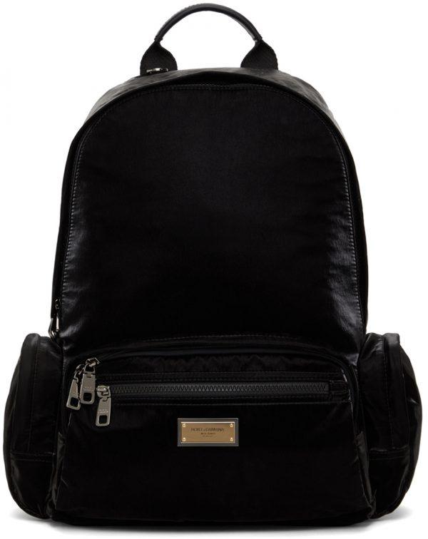 Dolce & Gabbana Black Nylon Sicilia DNA Backpack