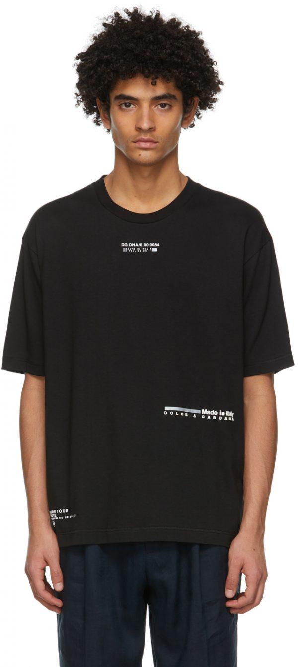 Dolce & Gabbana Black Rubberized Logo T-Shirt