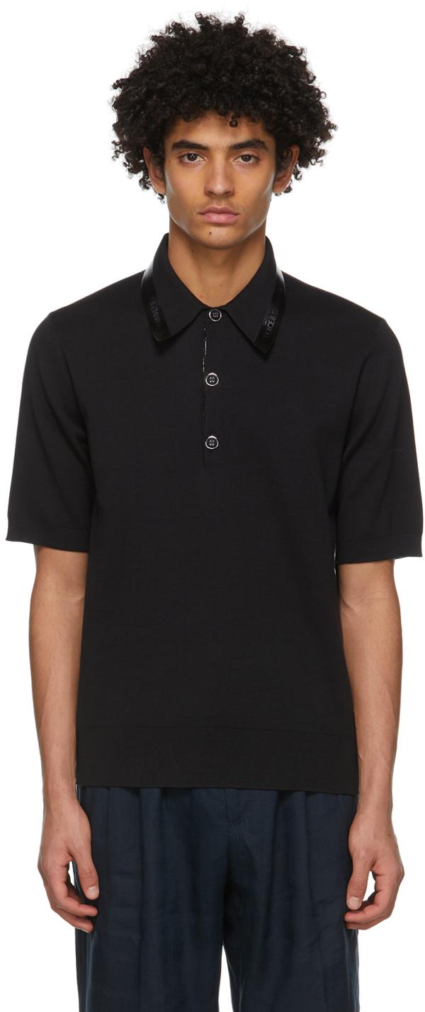 Dolce & Gabbana Black Silk Polo