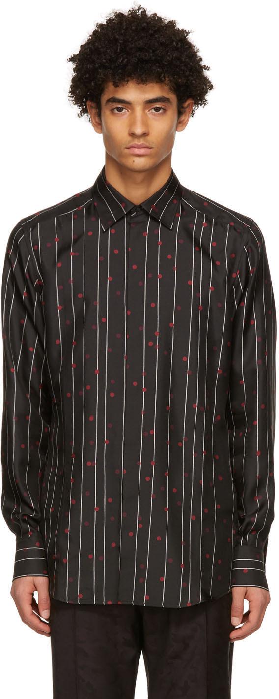 Dolce & Gabbana Black Silk Twill Pinstripe Shirt