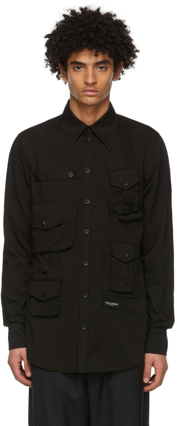 Dolce & Gabbana Black Twill Safari Shirt