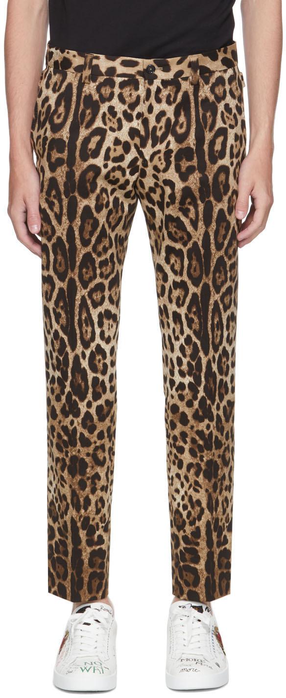 Dolce & Gabbana Black & Beige Leopard Trousers
