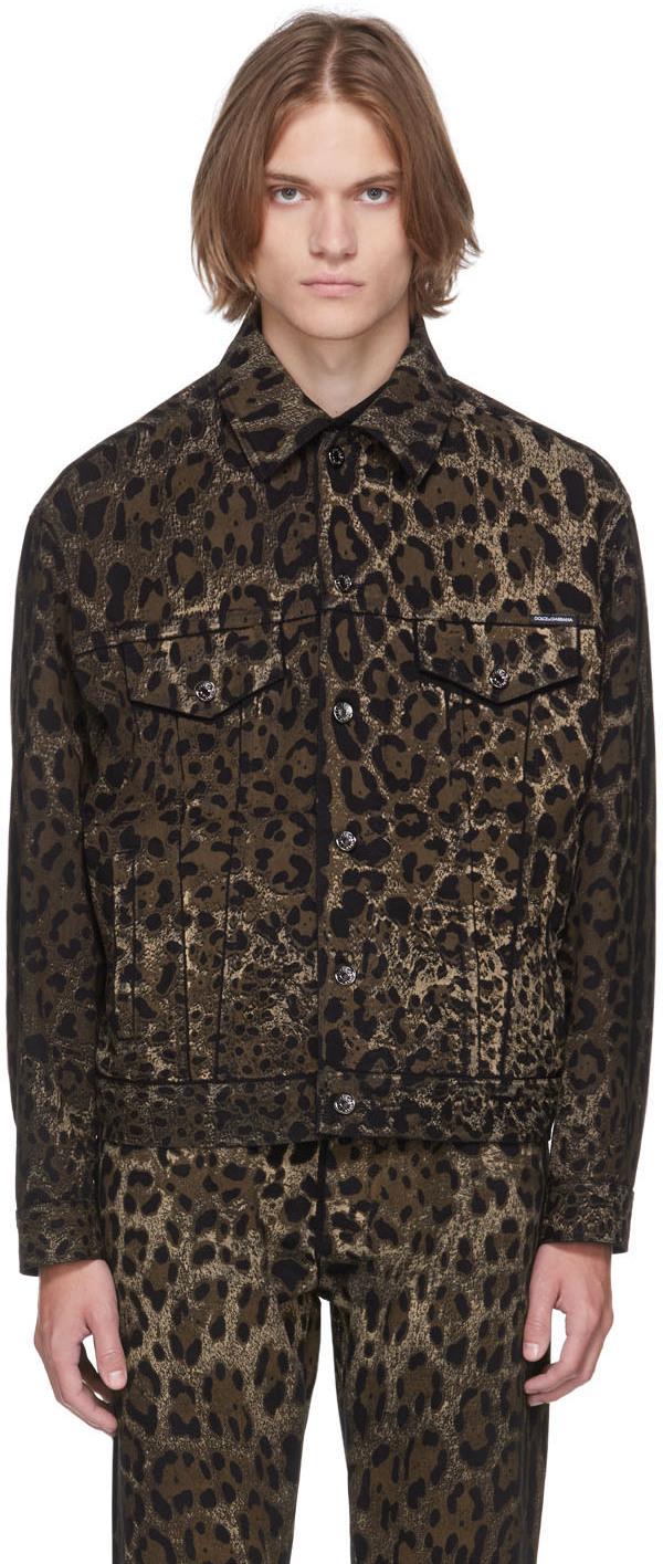 Dolce & Gabbana Black & Brown Denim Leopard Jacket