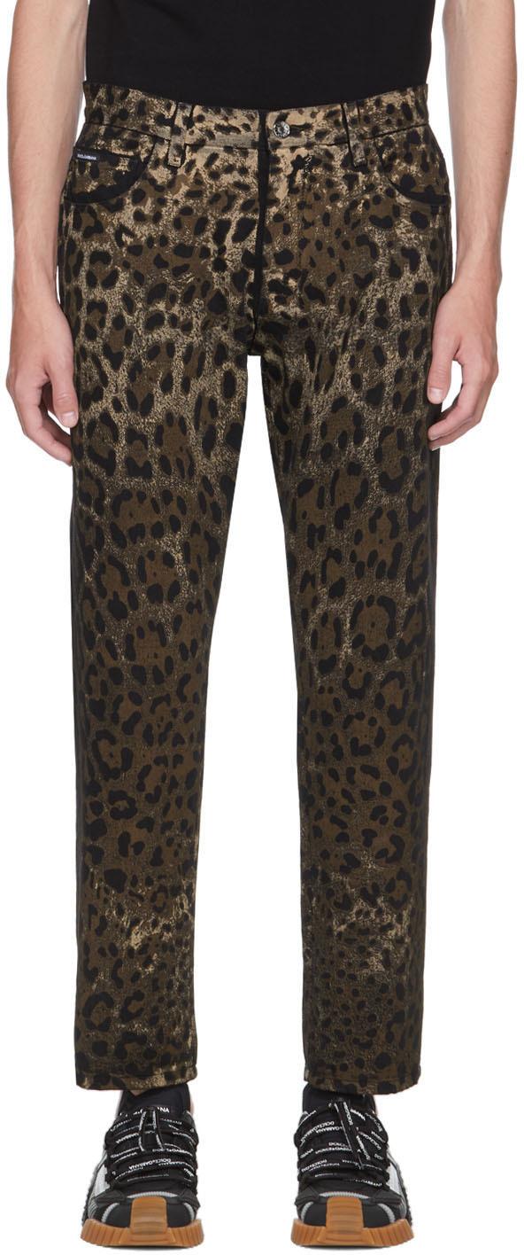 Dolce & Gabbana Black & Brown Leopard Jeans