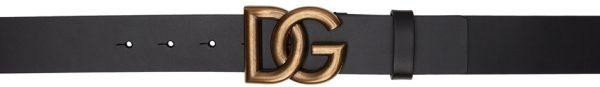Dolce & Gabbana Black & Gold Crossed 'DG' Lux Belt