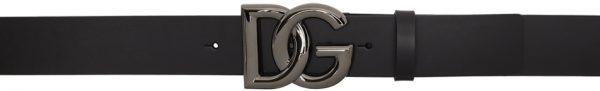 Dolce & Gabbana Black & Gunmetal Crossed 'DG' Lux Belt
