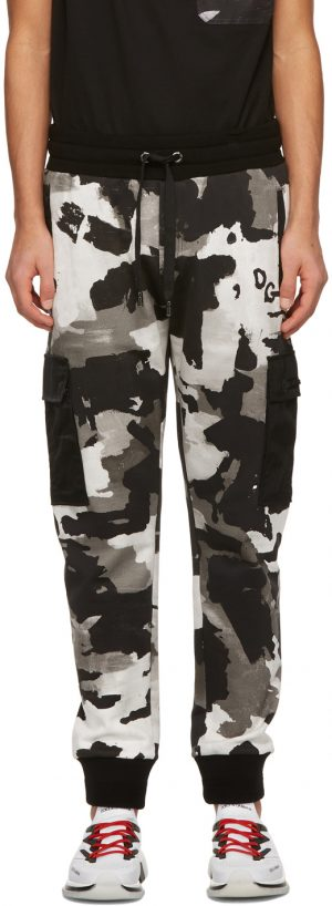 Dolce & Gabbana Black & White Camouflage Jogging Cargo Pants