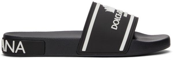 Dolce & Gabbana Black & White Rubber Logo Slides