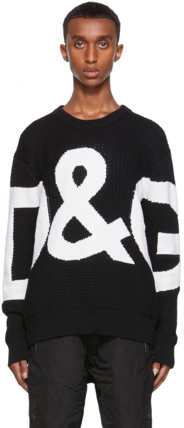 Dolce & Gabbana Black & White Wool Intarsia Logo Sweater