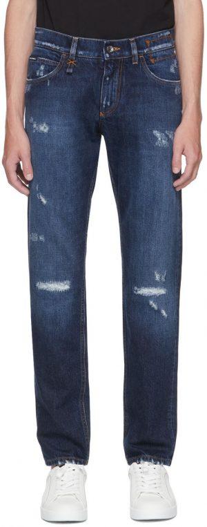 Dolce & Gabbana Blue Distressed Slim Jeans