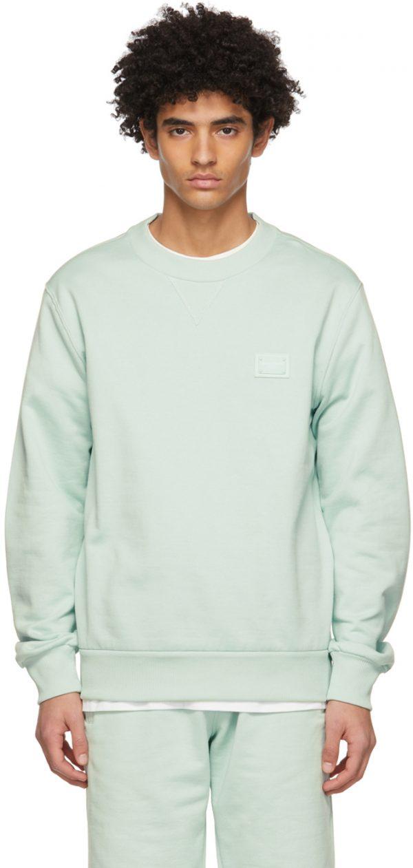Dolce & Gabbana Blue Jersey Branded Tag Sweatshirt