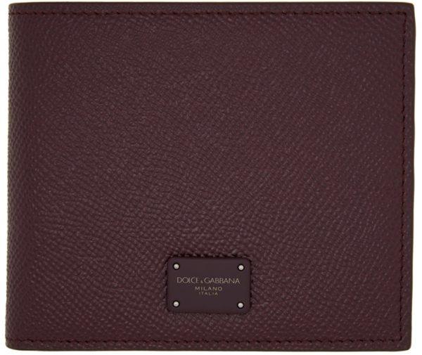 Dolce & Gabbana Burgundy Dauphine Bifold Wallet