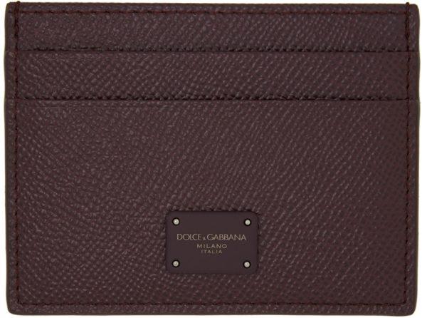 Dolce & Gabbana Burgundy Dauphine Credit Card Holder