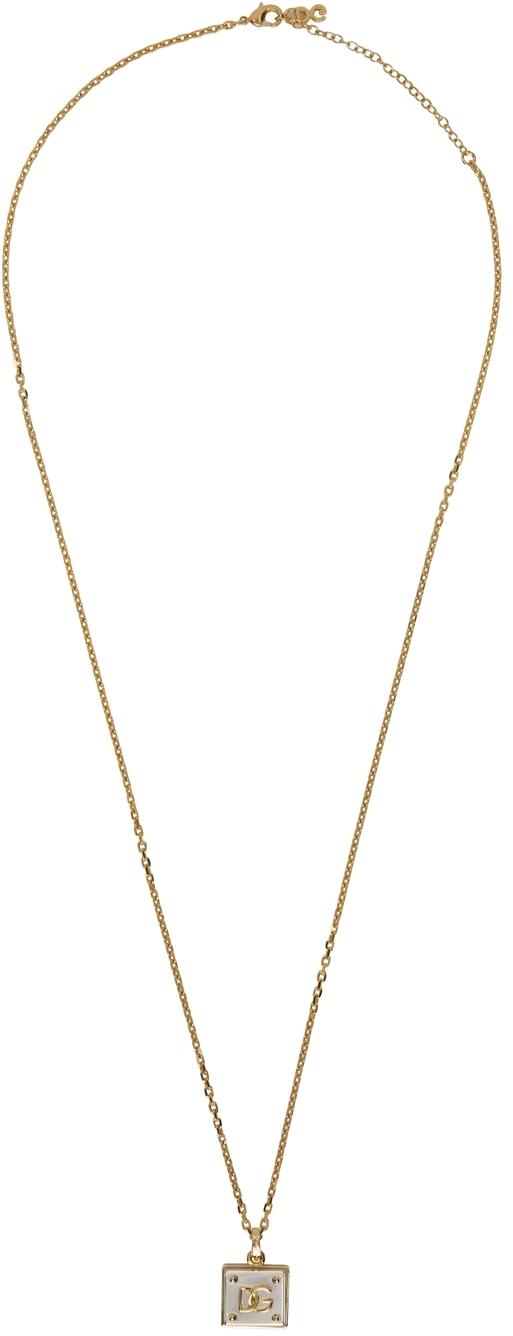 Dolce & Gabbana Gold Logo Pendant Necklace