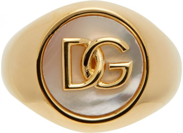 Dolce & Gabbana Gold Mother-Of-Pearl Logo Ring