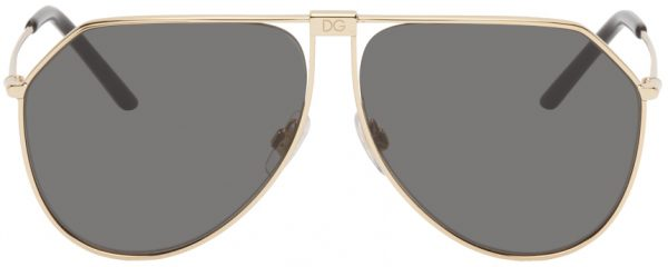 Dolce & Gabbana Gold Slim Aviator Sunglasses