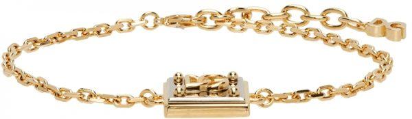 Dolce & Gabbana Gold & Silver Logo Pendant Bracelet