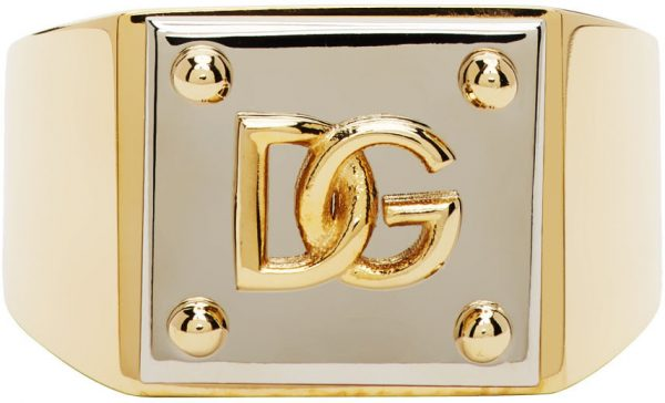 Dolce & Gabbana Gold & Silver Logo Ring