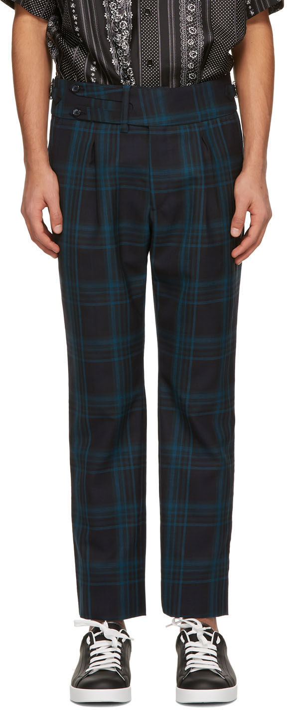 Dolce & Gabbana Green & Navy Wool Check Trousers