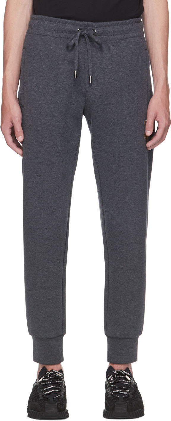 Dolce & Gabbana Grey Bee & Crown Lounge Pants