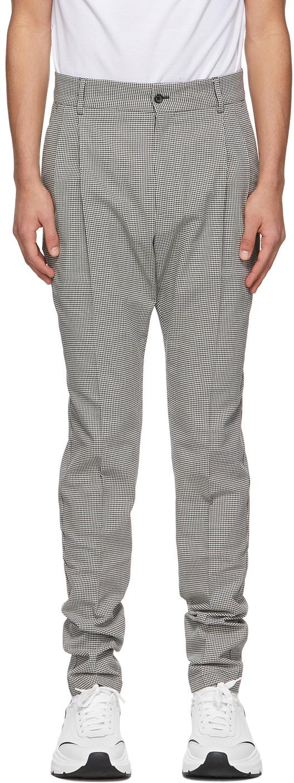 Dolce & Gabbana Grey Herringbone Double-Pleated Trousers