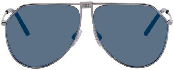 Dolce & Gabbana Gunmetal & Blue Slim Aviator Sunglasses