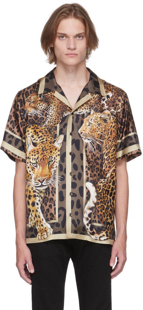 Dolce & Gabbana Multicolor Silk Leopard Print Short Sleeve Shirt