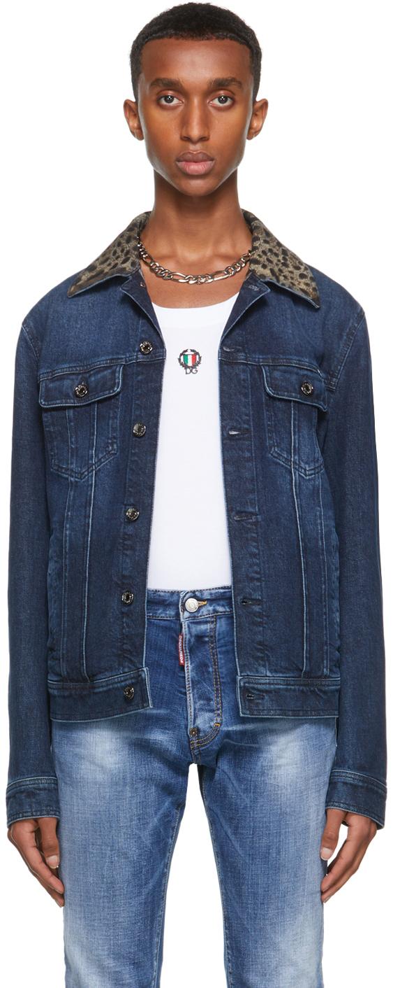 Dolce & Gabbana Navy Denim Leopard Jacket