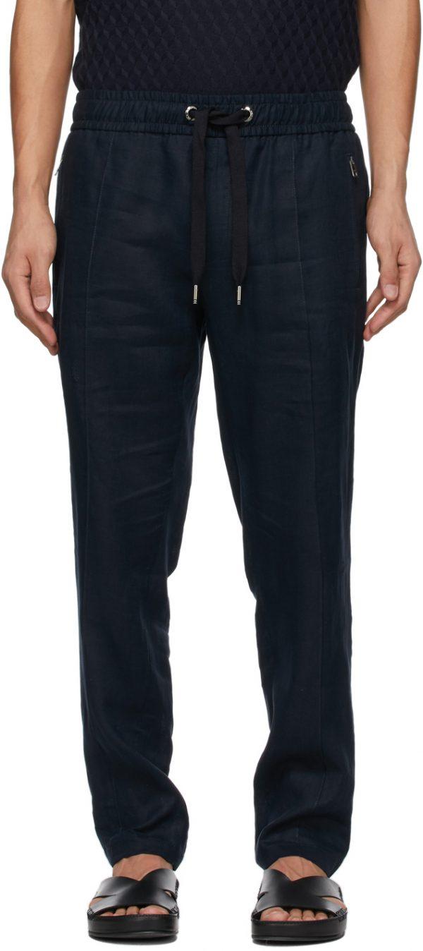 Dolce & Gabbana Navy Linen DG Patch Jogging Trousers