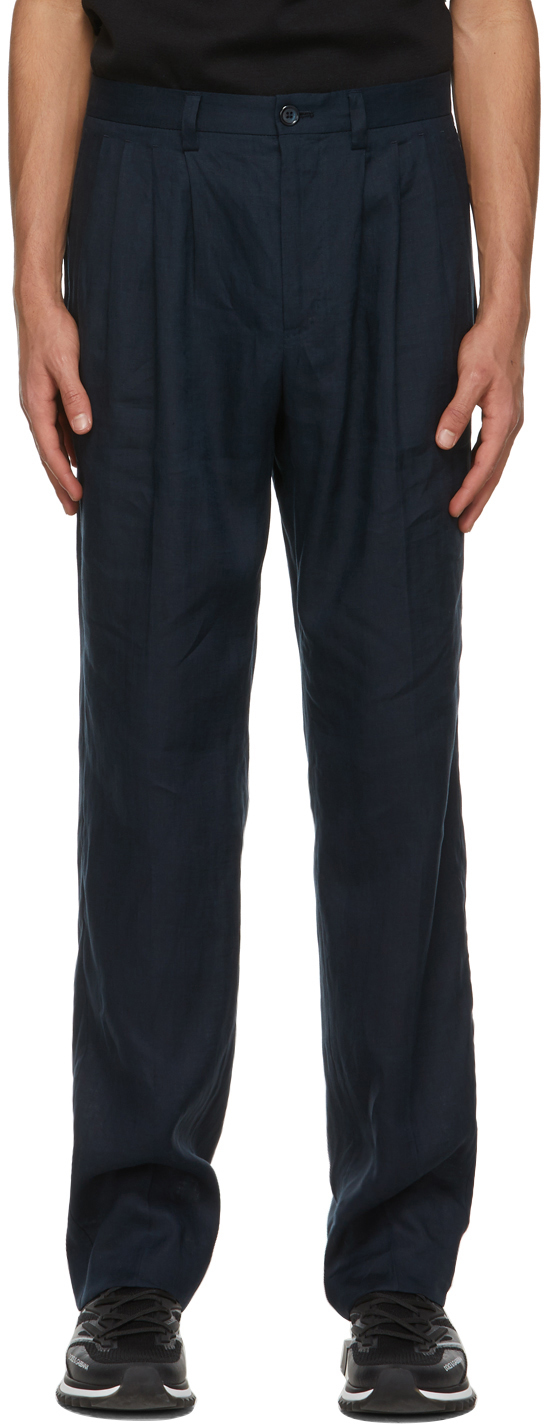 Dolce & Gabbana Navy Linen Pleated Trousers