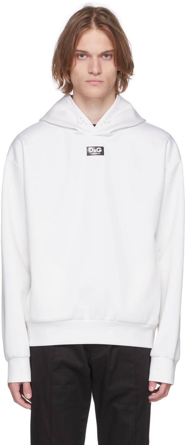 Dolce & Gabbana Off-White Scuba Logo Hoodie